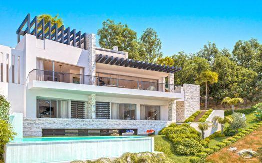 ARFV-2125 Proyecto de nueva villa con vistas al mar y con licencia de construcción en venta en Elviria en Marbella
