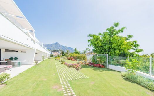 ARFA1419 - moderno apartamento en planta baja con vista al mar en el valle del golf Nueva Andalucía en venta
