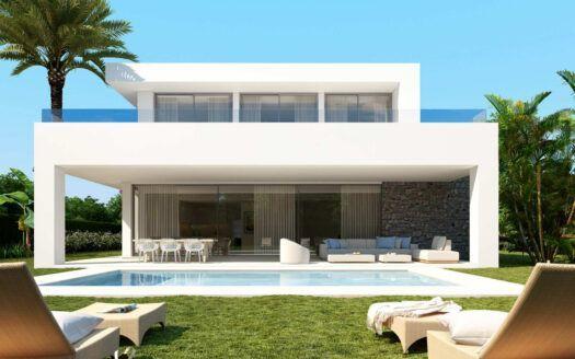 ARFV2194 - Modernas villas proyectadas de nueva construcción con vistas al mar en venta en Río Real en Marbella